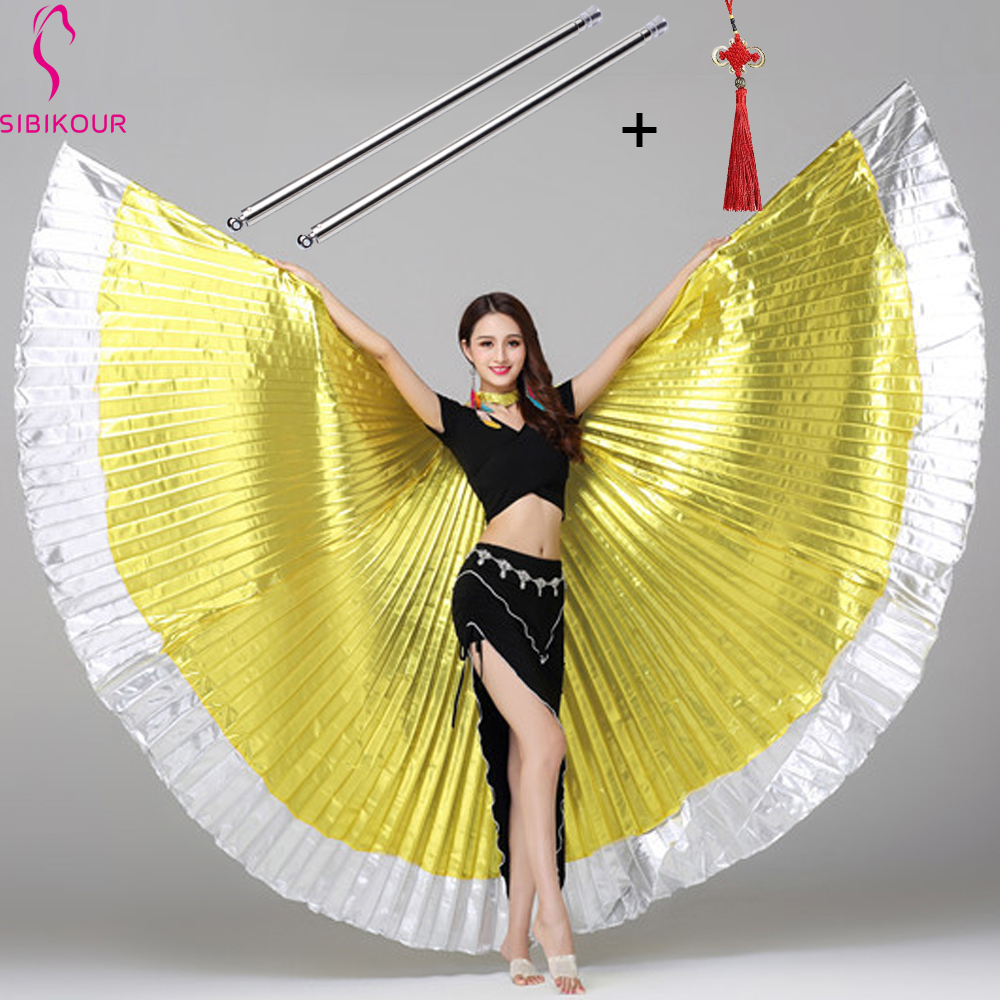13 Colors Belly Dance Isis Wings Belly Dance Accessory Bollywood Oriental Egypt Egyptian Wings Costume With Sticks Adult Kids
