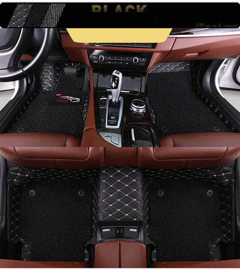 Custom Auto Vloermatten 2 Layer Voet Matten Voor Hyundai Santa Fe Ix25 Ix35 Accent Elantra Tucson Veloster Sonata Genesis veracruz