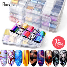 FlorVida Colorful Nail Foil For DIY Beauty Wrap Siliver Gold Color Nails Sticker Art