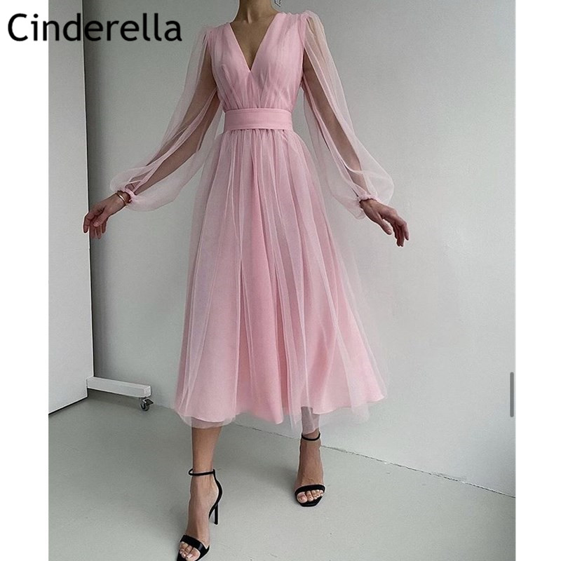 Pink Prom Dresses V-Neck Long Sleeves Soft Tulle A-Line Prom Gown Ankle Length Dress Vestidos De Fiesta De Noche