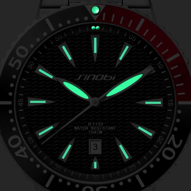 SINOBI גברים יד שעונים זוהר מצביע נירוסטה רצועת השעון יוקרה מותג זכר ספורט שעון ז 'נבה קוורץ Rolexable 2019