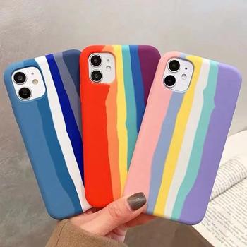 Luksusowe oryginalne tęczowe etui do Apple iPhone 12 Pro Max 11 X XS MAX XR 6s 7 8 Plus SE Mini oficjalna marka silikonowa obudowa telefonu tanie i dobre opinie CN (pochodzenie) Częściowo przysłonięte etui 12pro iphone12 iphone7 iphone8 coque i Logo stripe iphonex iPhone11 Zwykły