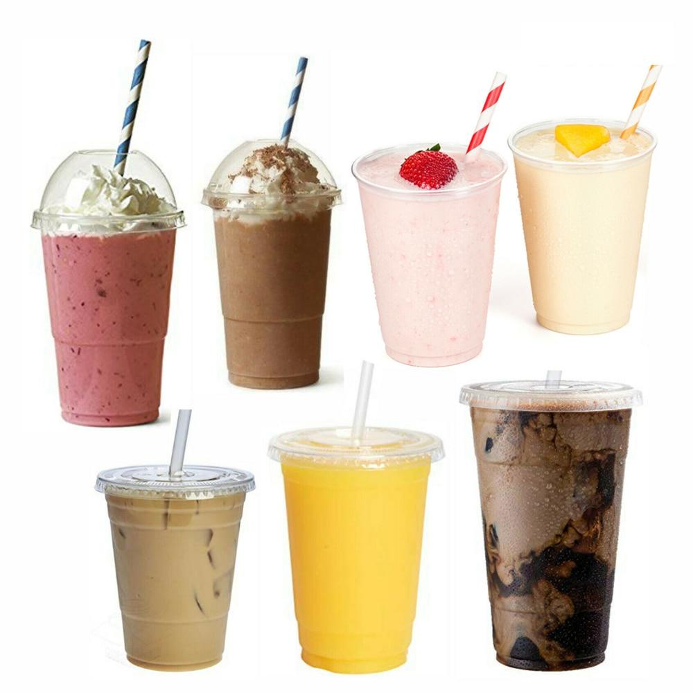 MONGKA Disposable Smoothie Cups, Domed Lids, Plastic Milkshake Glasses