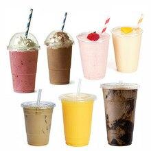 MONGKA – gobelets à Smoothie jetables, couvercles bombés, verres à Milkshake en plastique
