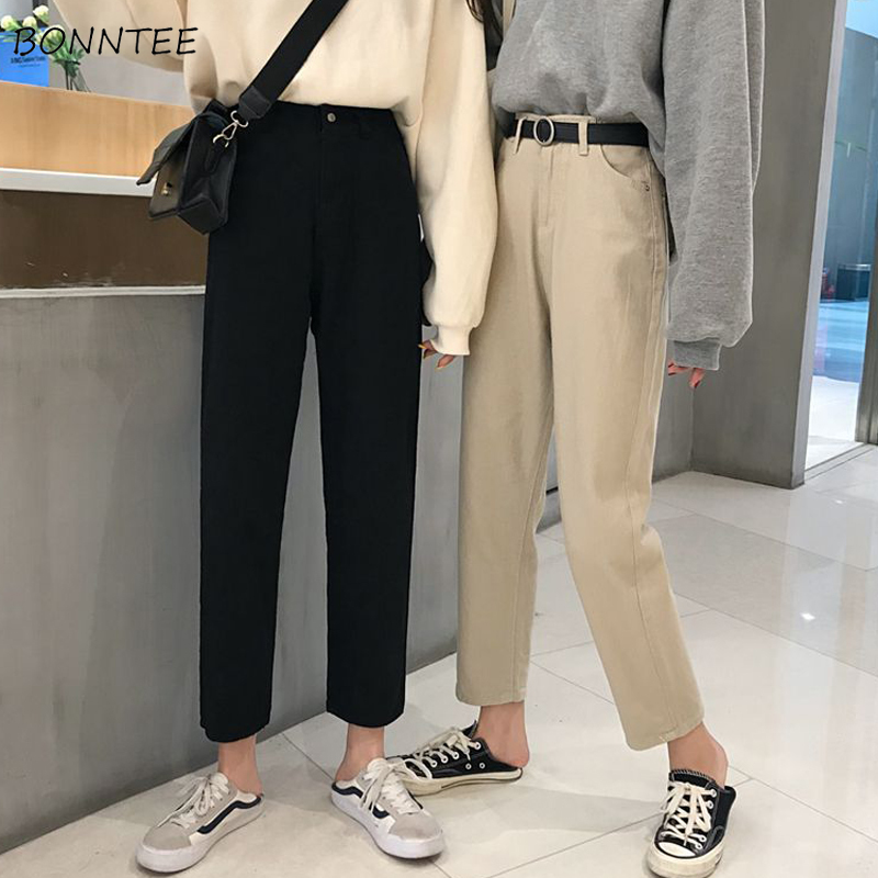 Jeans Women Solid Trendy Elegant All-match High-quality Korean Style Lace Leisure Daily Womens Female Lovely High-waist Simple