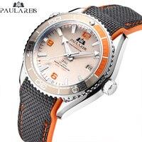 Mężczyźni automatyczne własna wiatr mechaniczne płótno gumowy pasek James Bond 007 styl pomarańczowy niebieski czerwony luksusowy zegarek