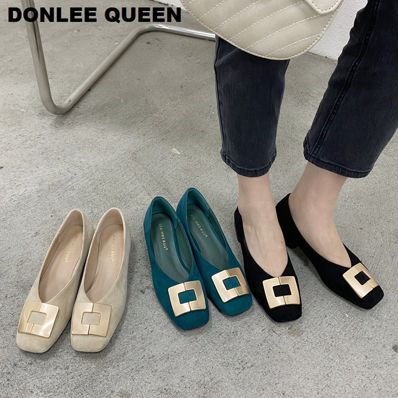 2020 Fashion Low-heeled Metal Buckle Shoes Women Spring Autumn Skid-proof Square Toe Flats Korea Style Ballerina Shoes Chaussure