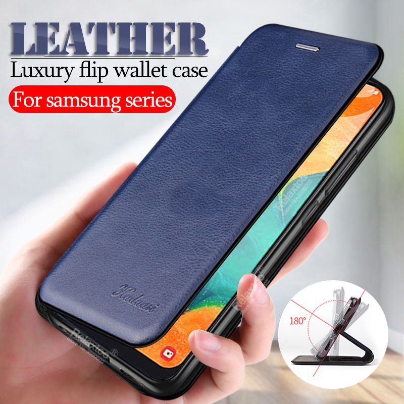 leather flip case For <font><b>samsung</b></font> <font><b>a10</b></font> a20 a30 a40 a50 a70 s8 s9 s10 plus note 10 pro on the sumsung s 8 9 wallet cover <font><b>coque</b></font> fundas image
