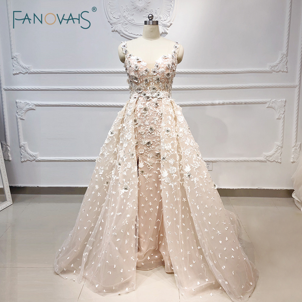Light Champagne Mermaid   Evening     Dress   Long Lace Strap Flower Crystal Beaded Prom   Dress   2019 with Removable Train Robe de Soiree