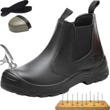 Holfredterse stalowe obuwie ochronne z podnoskiem dla mężczyzn skórzane niezniszczalne prace Chelsea Boots odporność na kwas oleinowy alkalia nowość tanie tanio Pracy i bezpieczeństwa CN (pochodzenie) Prawdziwej skóry Skóra bydlęca Połowy łydki Stałe Dla dorosłych Syntetyczny