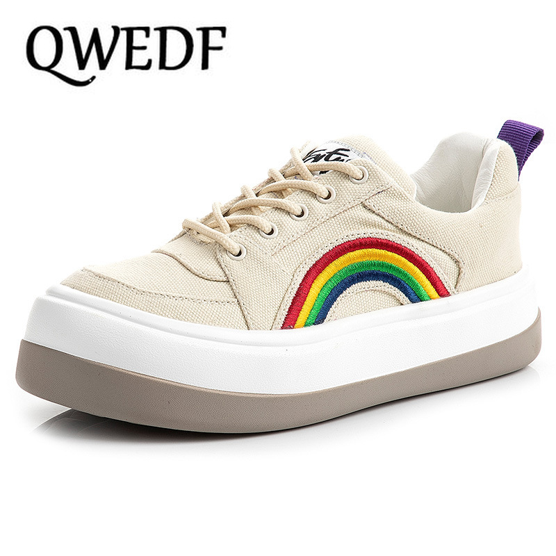 2019 Women Canvas Shoes Trainers Girls Fashion Sneakers Casual Shoes Basket Femme Chaussures Women Vulcanize Shoes White X12-11