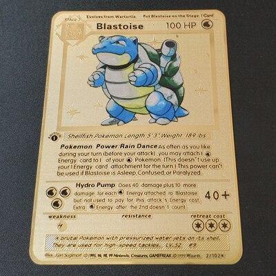 Покемон Игры Аниме битва карта золотая металлическая карточка Чаризард Пикачу коллекция карточная фигурка Модель Детская игрушка подарок - Цвет: Blastoise