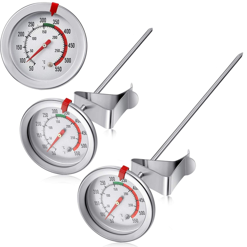 2 Pieces Of Stainless Steel Thermometer For Immediate Reading 5.08 Cm Dial Thermometer 7.8 Or 11.8 Inch Long Handle Frying Therm