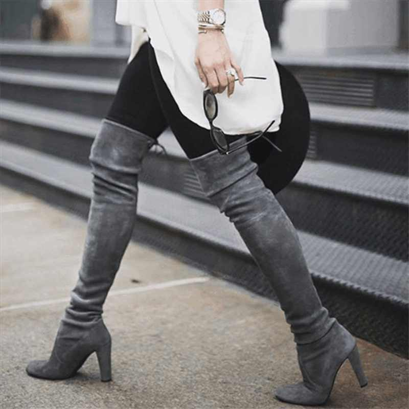 Au-dessus du genou dames bottes femmes chaussures femme à lacets femme cuisse haute botte automne hiver grande taille Botas Mujer Zapatos De Mujer