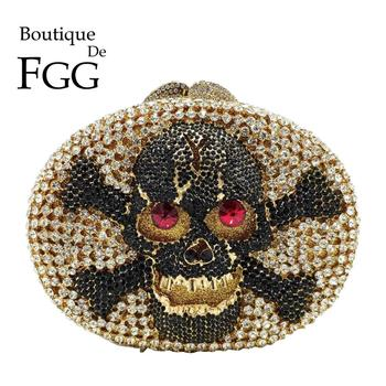 Boutique De FGG Halloween Women Skull Evening Bags Oval-Round Shape Party Cocktail Ladies Rhinestones Clutch Purses and Handbags