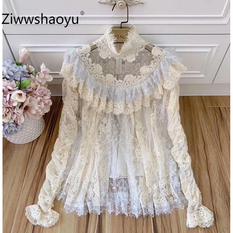 Ziwwshaoyu concepteur haut de gamme vintage chemisier chemise femmes élégant Turtlenec manches bouffantes automne Blouse haut