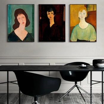 Amedeo Modigliani Famous Posters and Prints Abstract Portrait Sexy Woman Canvas Painting Wall Art Pictures for House Decor image