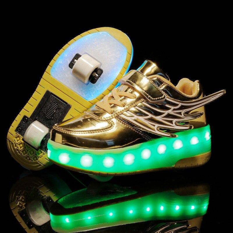 Kids Sneakers LED Heelys Rollers Skate Shoes Kids Light Wings Double Wheels Boy Girl Inine Roller Skate Luminous Lamp Shoes