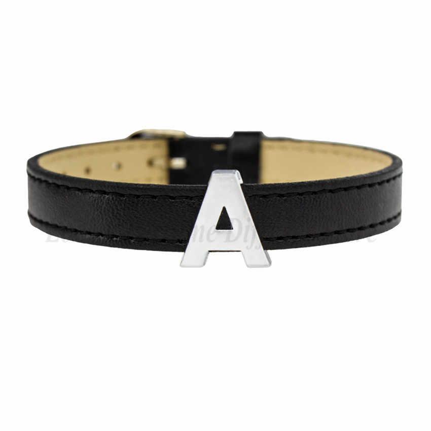 1 pieza A-Z 10mm Color plateado letras lisas de deslizamiento dijes Fit DIY pulsera Collar de mascota mujeres regalos de navidad
