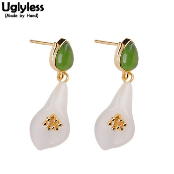 Uglyless Natural Jasper Jade Calla Lily Floral Earrings for Women Real 925 Silver Gemstones Flower Earrings Gold Brincos E1910