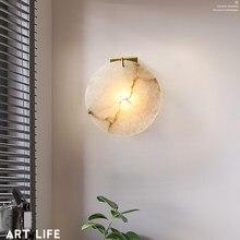 Moderna lâmpada de parede redonda escadas led luz decoração para o quarto cabeceira corredor escada cobre iluminação casa luminárias