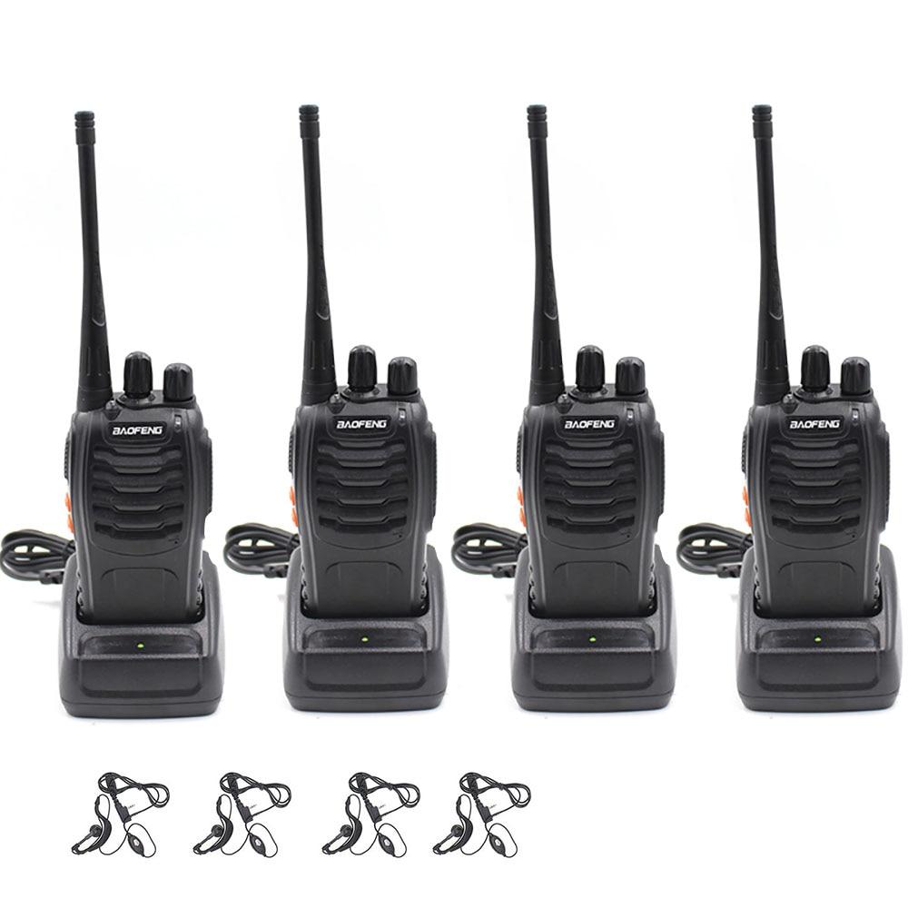 4Pcs Baofeng BF-888S Walkie Talkie UHF A Due Vie Radio BF888S Radio Del Palmare 888S Comunicador Transceiver  + 4 Earpiece