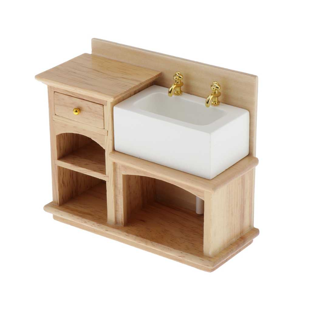 1 12 Miniature Wooden Wash Basin Cabinet With Ceramic Hand Sink Furniture For Dollhouse Bathroom Or Kitchen Decoration Furniture Toys Aliexpress