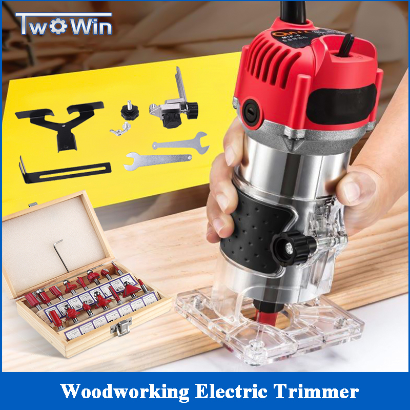 30000rpm 800W Electric Woodworking Trimming Wood Milling Engraving Slotting DIY Carving Machine 15pcs 1/4 Shank Router Bits