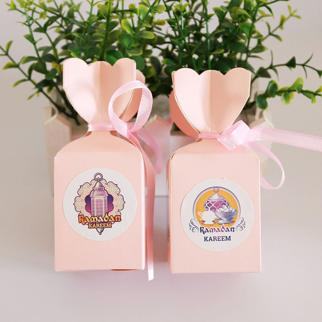 120pcs EID Mubarak Ramadan Paper Box Stickers DIY Candy Box Sticker Muslim Islam Eid Party Supplies