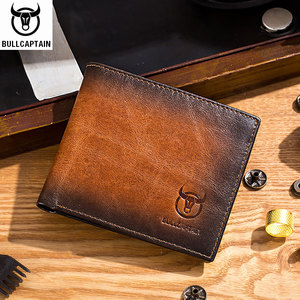 Image 1 - BULLCAPTAIN RFID shielding Mens leather wallet double fold slim wallet multi card card package ID bag