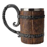 ヴィンテージ創造バーバイキング樹脂イミテーションウッドスタイルカップバレルビールコーヒー飲料マグ茶金属絶縁ゲーム愛好家のギフト
