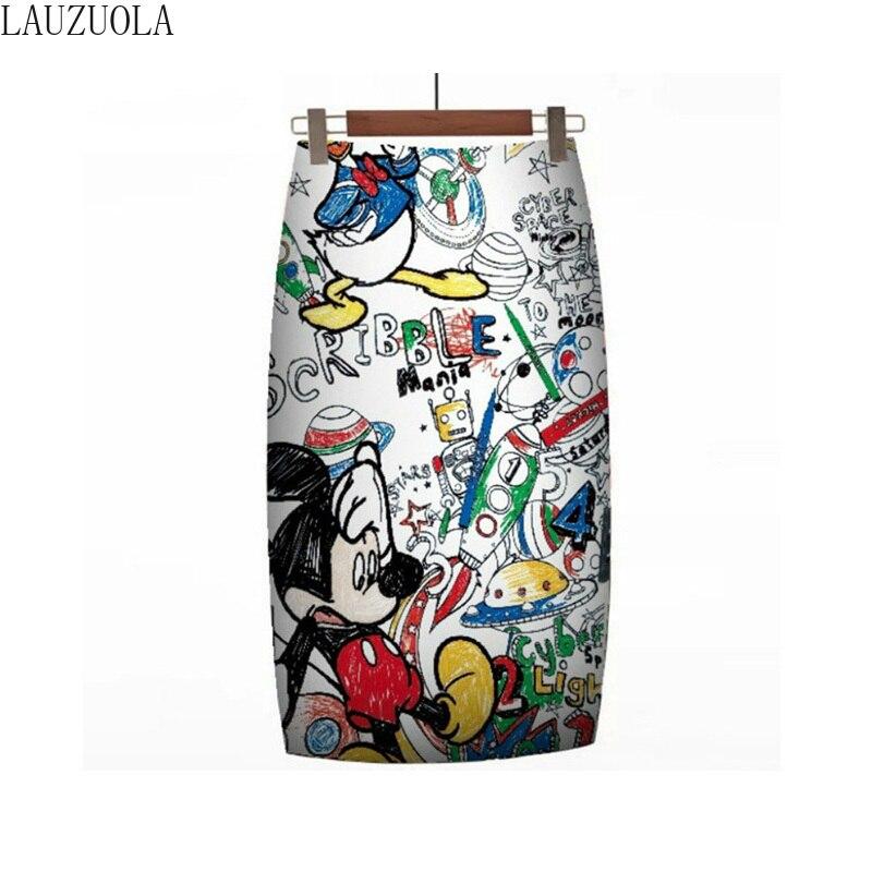 Christmas Women Pencil Skirt 2020 New Cartoon Mouse Print High Waisted Slim Skirts Vintage Girl Summer Large Size Faldas Mujer