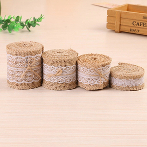 2M/Roll 2.5-6cm Natural Jute lace Ribbon with Lace For Rustic Wrap Gift Packing Wedding Decoration(China)