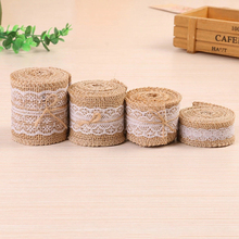 2M/Roll 2.5-6cm Natural Jute lace Ribbon with Lace For Rustic Wrap Gift Packing Wedding Decoration