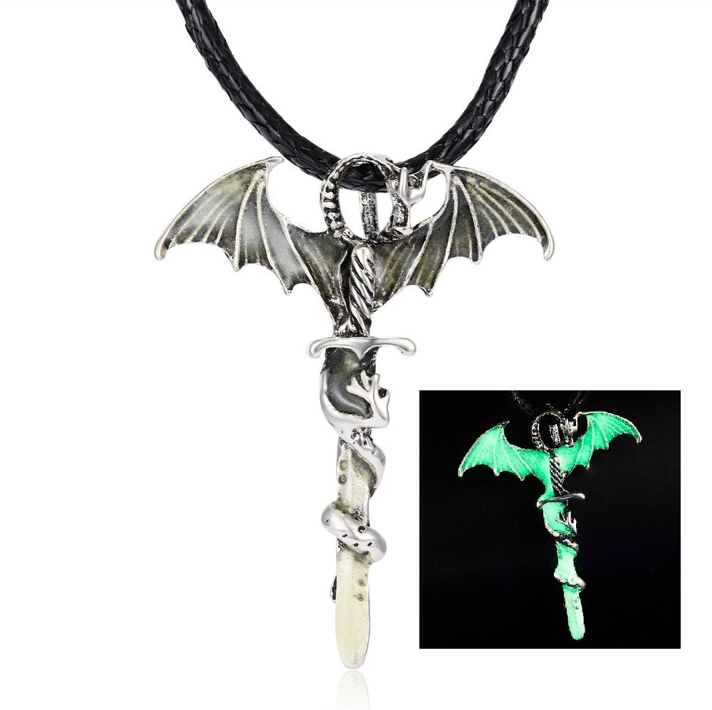 H8a3a81c927b44c51b71a3e25f4d030a8f - Vintage Glow In The Dark Necklace Sword Dragon Necklaces For Man Metal Animal Pendant Night luminous Fluorescence