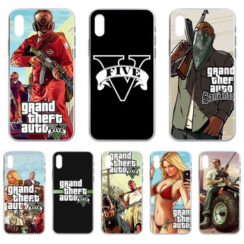 Grand Theft Auto V game Etui Transparent Phone Case cover For iphone 4 4S 5 5C 5S 6 6S PLUS 7 8 X XR XS 11 PRO SE 2020 MAX image