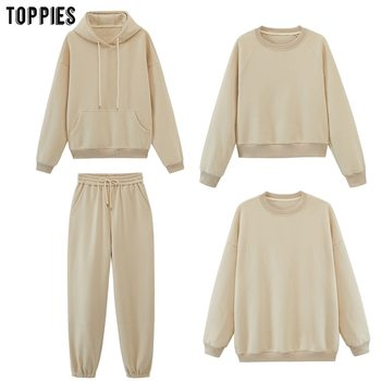 Женские спортивные костюмы toppies, толстовки с капюшоном, флисовые толстовки оверсайз, однотонные куртки унисекс для пар, Осень-зима 2020