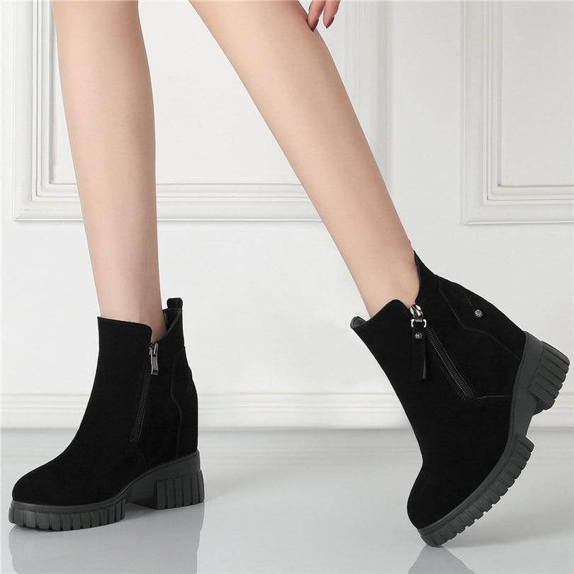 Купить женские черные туфли лодочки из натуральной кожи на платформе