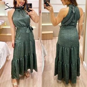 Image 3 - Simplee Sexy licou cou sans manches robe Vintage vert longue maxi vacances robe printemps été fête ceinture élégant 2020 vestidos