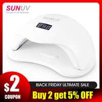 SUNUV SUN5 Plus 48W UV lámpara LED para secado de uñas para curar todo tipo de Gel 99s bajo calor 36 Leds lámpara UV para dos manos máquina de Arte de uñas