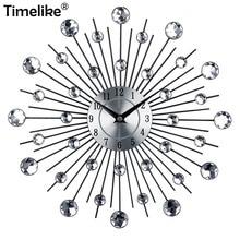 Metal Art Large Wall Clock Luxury Diamond Vintage When Watch Orologio Da Parete Morden Design Home Decor Clocks
