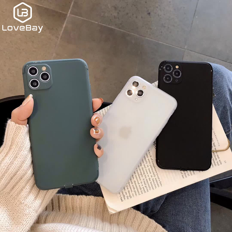 Lovebay Simple Matte Phone Cases For IPhone 11 Pro XS MAX XR X Soft TPU Back Cover For IPhone 8 7 6 6S Plus Ultra Thin Silicone
