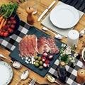 Buffalo Check настольная дорожка ручной работы черный и белый плед для семейного ужина  на открытом воздухе или в помещении вечеринки  День благод...