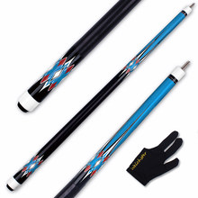 Weichster 1/2 Split Maple Shaft Blue Decal Billiards Pool Cue Stick with Glove