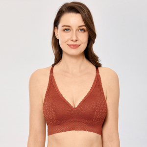 Image 4 - MOMANDA Nursing Maternity Bra Lace Bralette Lightly Lined Wireless Pregnancy Breastfeeding Clothing