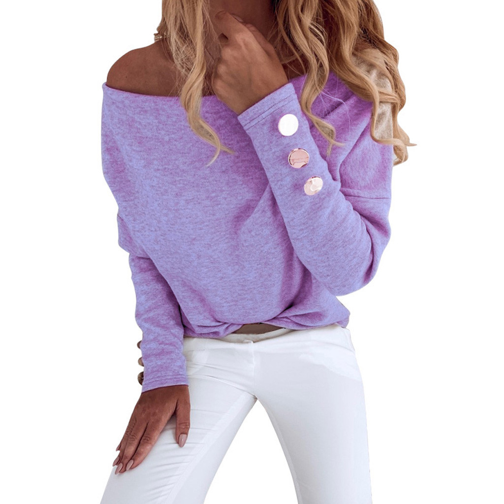 women off shoulder top purple Women's Solid Color Casual Long Sleeve Women's Button Shirt Top Blouse#4(China)