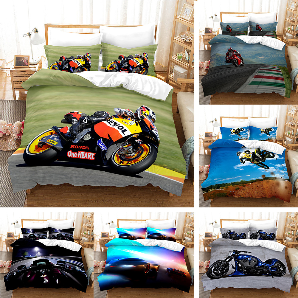 3D Printed Motorcycle Bedding Set Fashion Artistic Duvet Cover For Boy King Single Twin Full Double Comfortable Bed Sets
