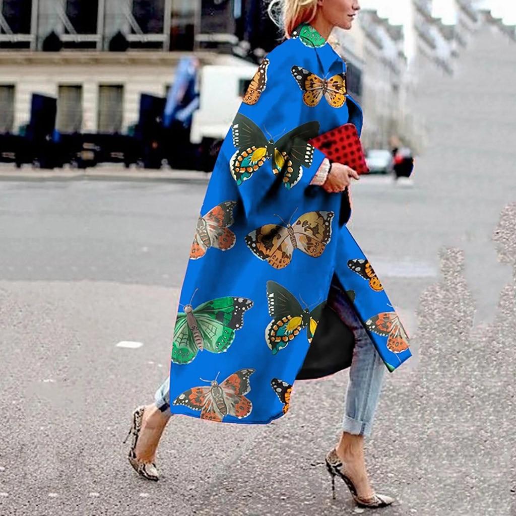 Coat Women Winter New Fashion Jacket Women Fashion Casual Retro Print Long Sleeve Long Coat Casual Outerwear Wholesale Free Ship