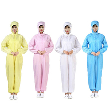 цена на Dust-proof Protective Clothing Anti-static Dust-free Clothes Hooded Overalls Workshop Uniforms Bacterium Washable Suit Coverall