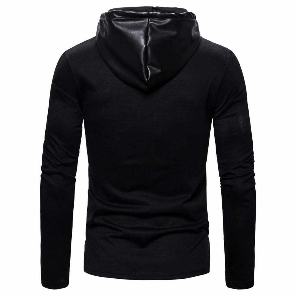 Gotik Faux Deri Ceket Erkekler Hoodies Kış Sonbahar Motosiklet Ceket Siyah Giyim Suni Deri PU Ceket 2019 Ceket SıCAK